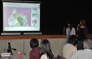 市公民館連絡協の「綾部の民話」事業で、京都精華大学の学生達が制作中の作品を披露した