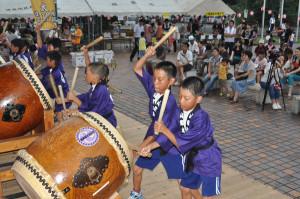 第16回「ドンドコ夏まつり」が10日に開かれ、綾部の三大地太鼓が初共演する場面もあった。