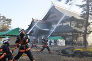 文化財防火デーに伴い、市消防本部と市教委は24日大元本部で火災想定訓練を行った。