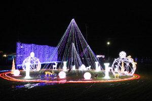 観客らのカウントダウンで点灯された今年のイルミネーション(井倉町で)