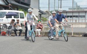 川糸町の市福祉ホールの敷地内の一角に27日、「綾部タンデムステーション」が設けられた。