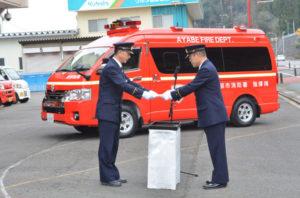 市消防本部が平成10年から使っている「指揮広報車」の老朽化に伴い、市は新たに「指揮車」を導入。