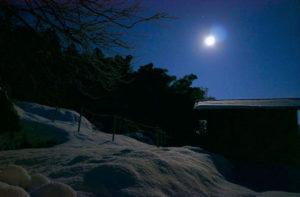 雪の夜、外に出ると月光に照らされた雪がところどころキラキラと輝いている