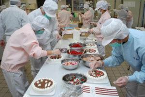 川糸町の綾部高校由良川キャンパス(東分校)で現在、予約を受けたクリスマスケーキ作りに生徒たちが大忙しだ。作業は19日までの予定で、600個を仕上げる。