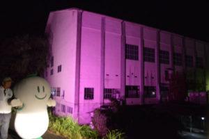 10月の「乳がん月間」に合わせ綾部ロータリークラブ(出口孝樹会長)は1日夜、「ピンクリボン運動」の一環として、並松町の市民センターをピンクの明りでライトアップ(市後援)した。