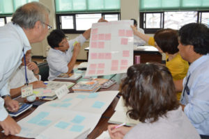 新たな市図書館整備検討委員会(座長=山﨑清吾副市長、17人)の3回目の会合が5日に市役所第1委員会室で開かれ、委員たちが3班に分かれてのグループ討議で、新図書館に必要な施設機能と館内環境について提案した。