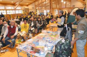 星原町で集落のまちづくりに取り組む「アクトスター」(今井逸郎代表)は23日、地元の吉美地区以外では初めて鍛治屋町の市里山交流研修センター・森もりホールで「防災力パワーアップ事業」として「避難所体験&研修会」を開催。豊里地区住民ら87人が訪れた。