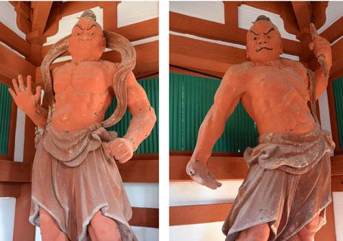 国の文化審議会は18日、文部科学大臣から諮問のあった国宝・重要文化財の新指定などについて答申。市内では睦寄町の真言宗光明寺(楳林誠雄住職)二王門に安置されている木造金剛力士立像2体が新たに重要文化財に指定された。市資料館によると、国宝の門に国宝または重要文化財の像が安置されているのはこれまで国内に3カ所しかなく、それらはすべて奈良県内にあることから、奈良県外では初の事例になるという。