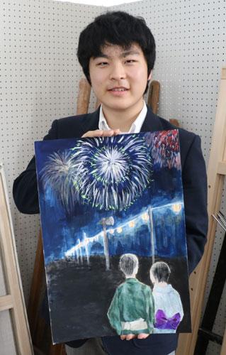 あやべ水無月まつり実行委員会が毎年、綾部高校美術部に依頼している同まつりのポスターの原画が完成し、17日に岡町の同校四尾山キャンパス(本校)で披露された。