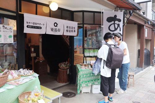 綾部に関する商品の魅力に触れ、より綾部を身近に感じてもらいたい―。市定住・地域政策課は27日、京都市中京区にある京都ペレット町屋ヒノコで「プレあやべ市(いち)」を開いた。